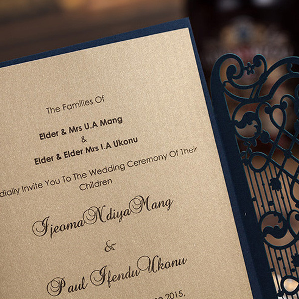 Elegant Navy Blue Laser Cut Wedding Invites With Exquisite Engraving Lc010 Amaze Paperie