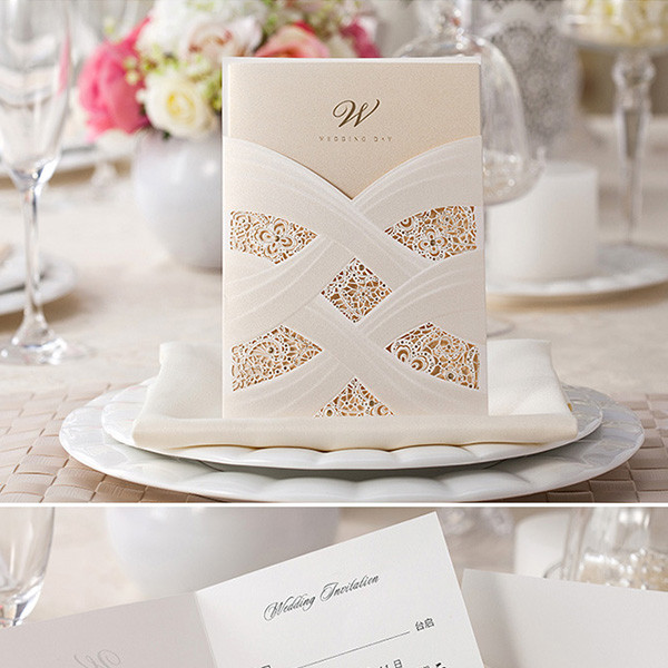 Unique Ivory And Gold Laser Cut Pocket Wedding Invitations Lc005 Amaze Paperie