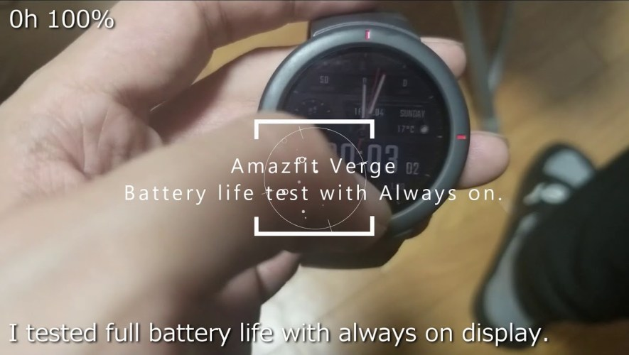 Amazfit Verge full battery life test with always on display