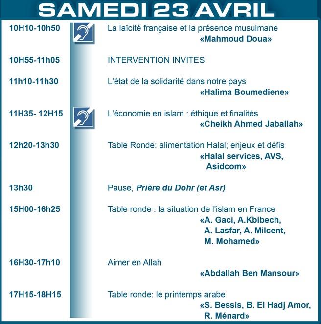 28ème RENCONTRE LE BOURGET 2011 SAMEDI 23 AVRIL Amazigh :  le salon du Bourget UOIF 2011 :PROGRAMME DU 23 AVRIL