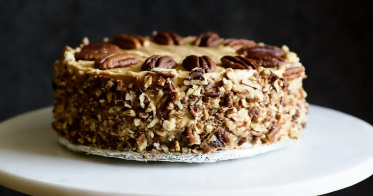 Brown Sugar Ackee Cake with Dulce de Leche Frosting and Pecans