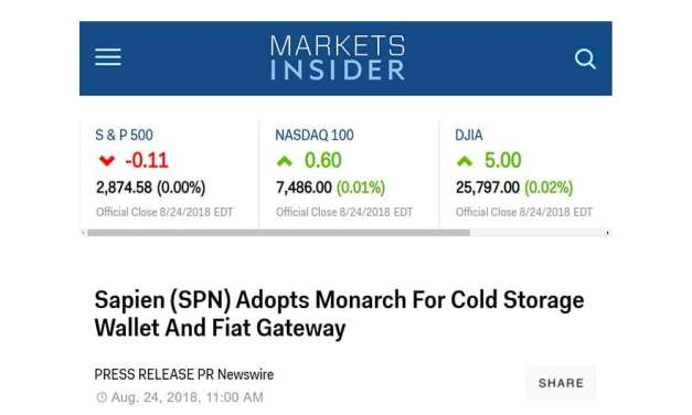Business Insider – Sapien (SPN) Adopts Monarch For Cold Storage Wallet And Fiat Gateway