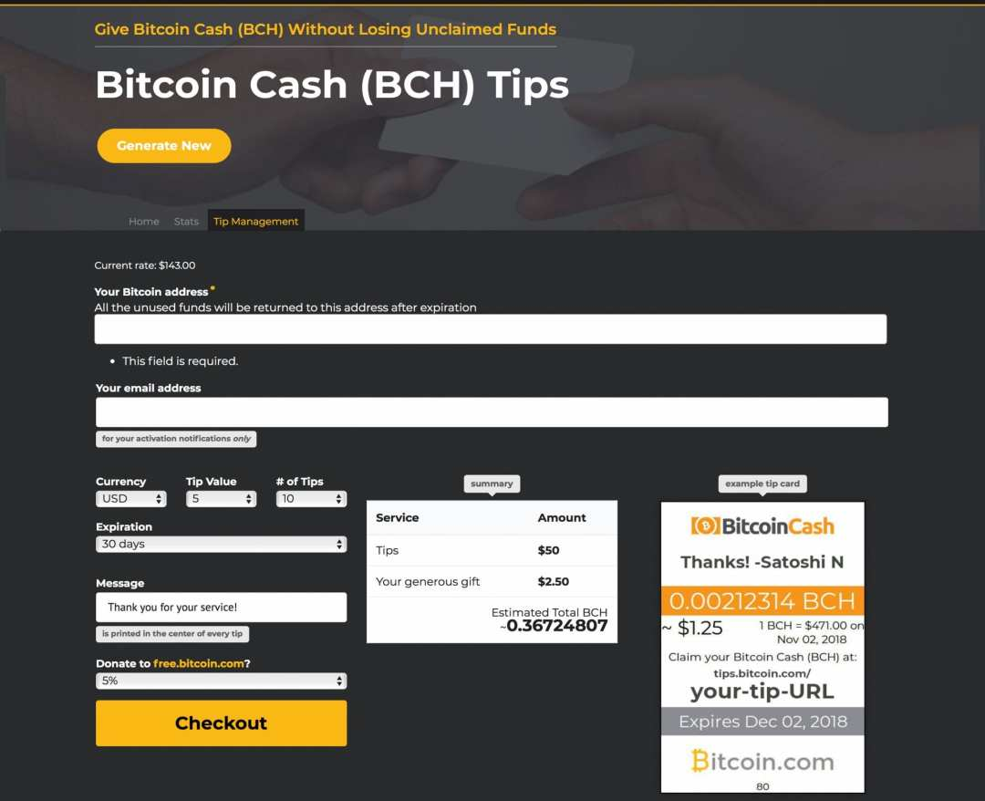 Express Your Gratitude With Bitcoin.com's New Refunding Tip Generator