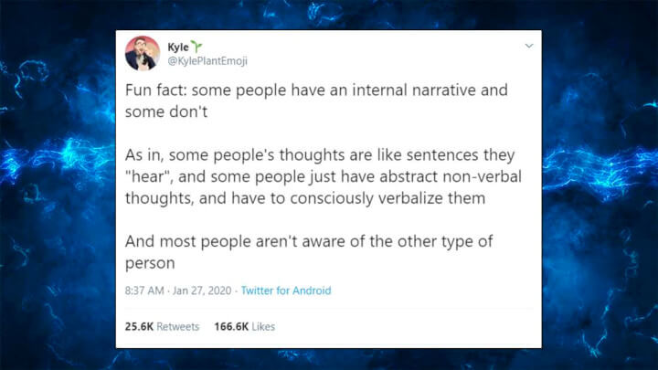 People Are Weirded Out To Discover That Some People Do not Have An Internal Monologue