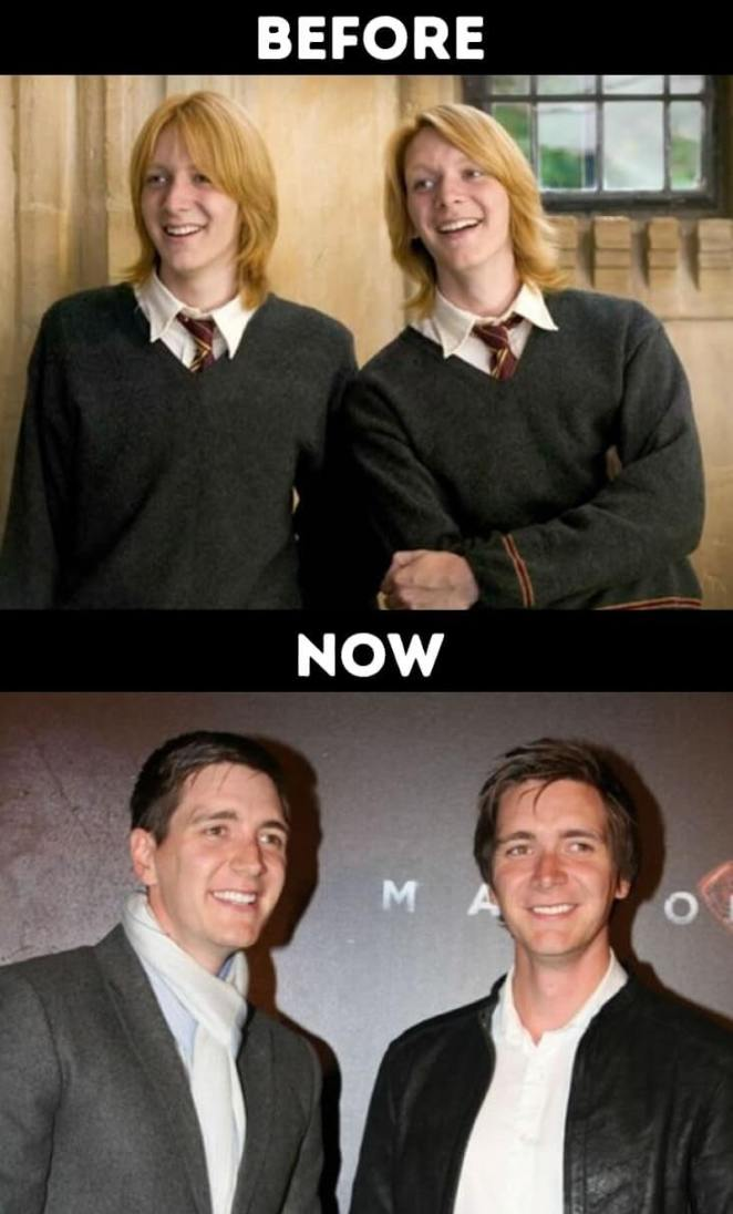 actors from Harry Potter now Fred and Georgy Weasley Played by James and Oliver Phelps
