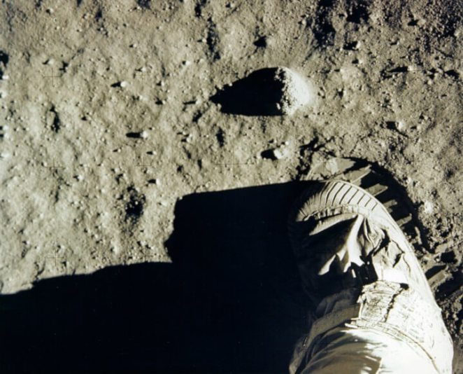 Apollo 11 first footprints on the moon