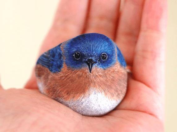 Artist Paints Found Stones That Look Like Real Blue Bird And I Hope They Make You Smile