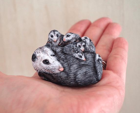 Artist Paints Found Stones That Look Like Real Possum Family And I Hope They Make You Smile
