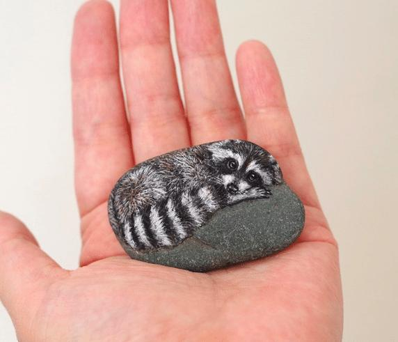 Artist Paints Found Stones That Look Like Real Raccoon And I Hope They Make You Smile