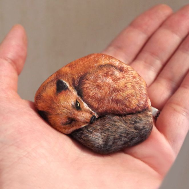 Artist Paints Found Stones That Look Like Real Red Fox And I Hope They Make You Smile