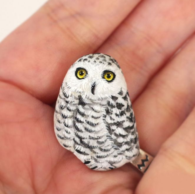 Artist Paints Found Stones That Look Like Real Snow Owl And I Hope They Make You Smile