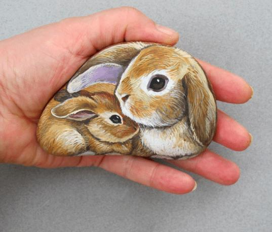 Each rock animal will touch your heart like this Rabit family