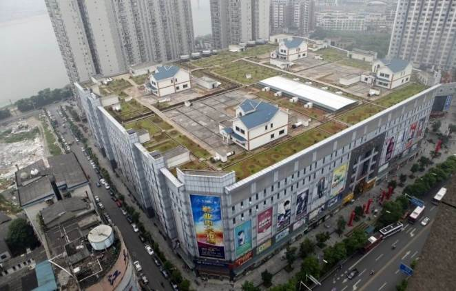 Houses on the roof of a mall in Hunan, China