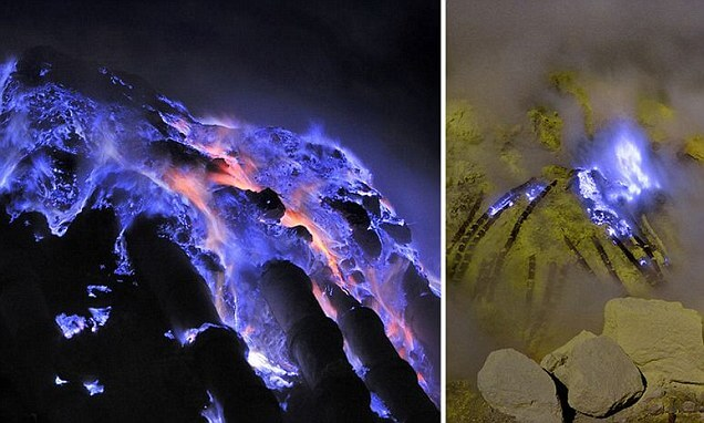 Volcanoes in Indonesia that emit blue and purple lava Interesting Earth Fact