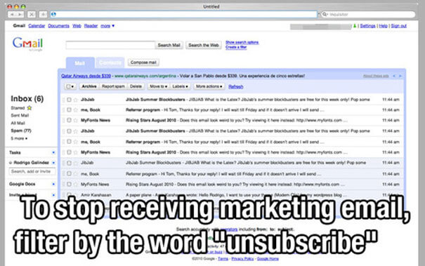 life-hacks to stop receiving marketing emails