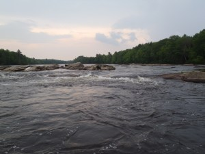 Perfect smallmouth bass habitat: moderate current, non-linear flow, 4-8 ft depth, large boulders, current seams. Can't ask for better!