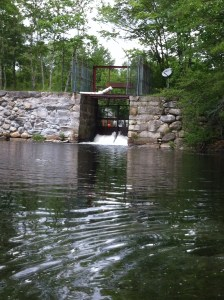 The dam separating Little Sebago Lake from Mill Pond