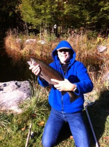The blog author with his monster rainbow trout