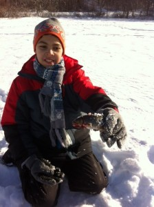 Christian's first ever brookie caught through the ice