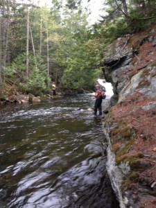 Joel and Salvy trying to entice a brookie using dry flies