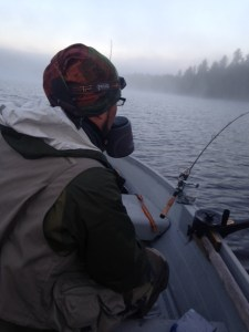 Trolling with Salvi in the early-morning fog. Hot coffee helps!