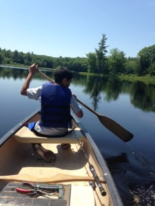 Paddling back after a few hours of fun fishing on Alewife Pond