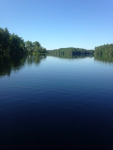 General view if Dundee Pond: calm, serene, and all to ourselves!