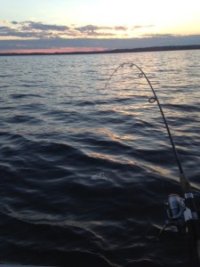 A setting sun after a fun afternoon of fishing and making memories