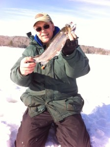 "Your blog author with a 16"" brookie jigged through the ice."
