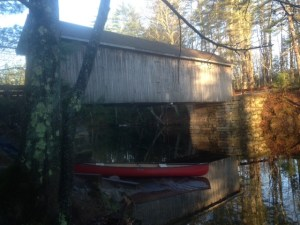 The access point on the Presumpscot River by the Babbs Covered Bridge