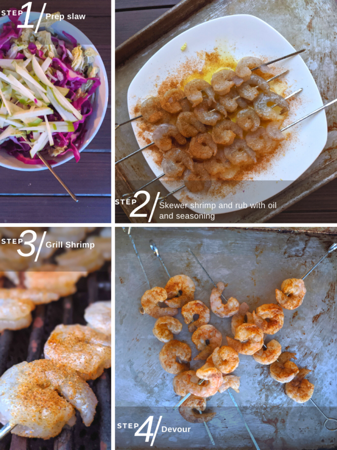 Steps for making this recipe, from mixing the slaw to skewering the shrimp, grilling and then assembling tacos