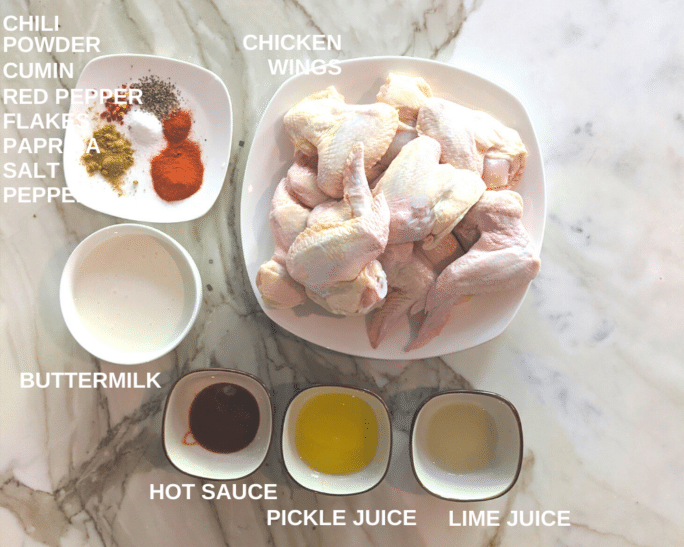Ingredients for buttermilk brined smoked chicken wings