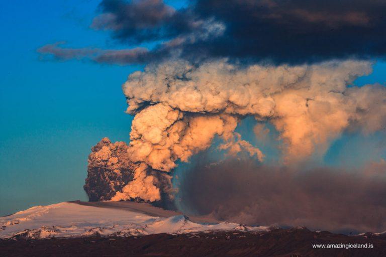 Sunset on ash cloud of Eyjafjallajokull