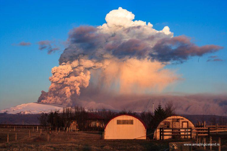 Ash cloud and farm