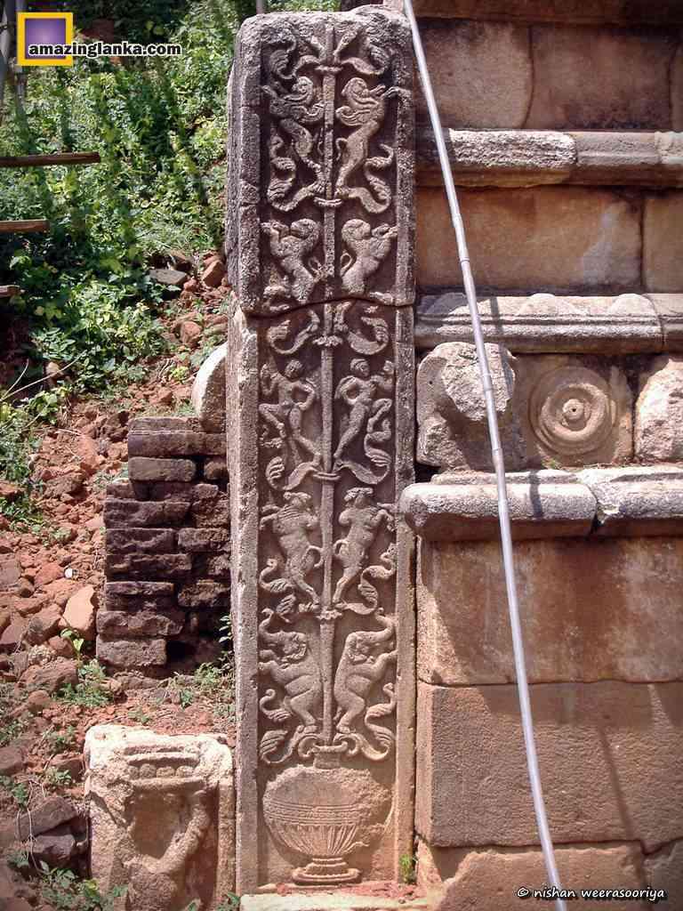 "Abayagiri Stupa A carving of ""Kalpa Wrukshaya"" on a steele at one of the Vahalkada"