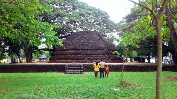 Conserved stupa at the Panduwasnuwara Museum site.