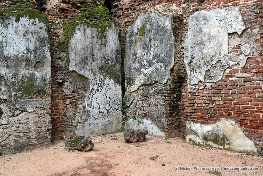 Melted walls of the Palace of king Parakrambahu when it was burned down by the Invaders