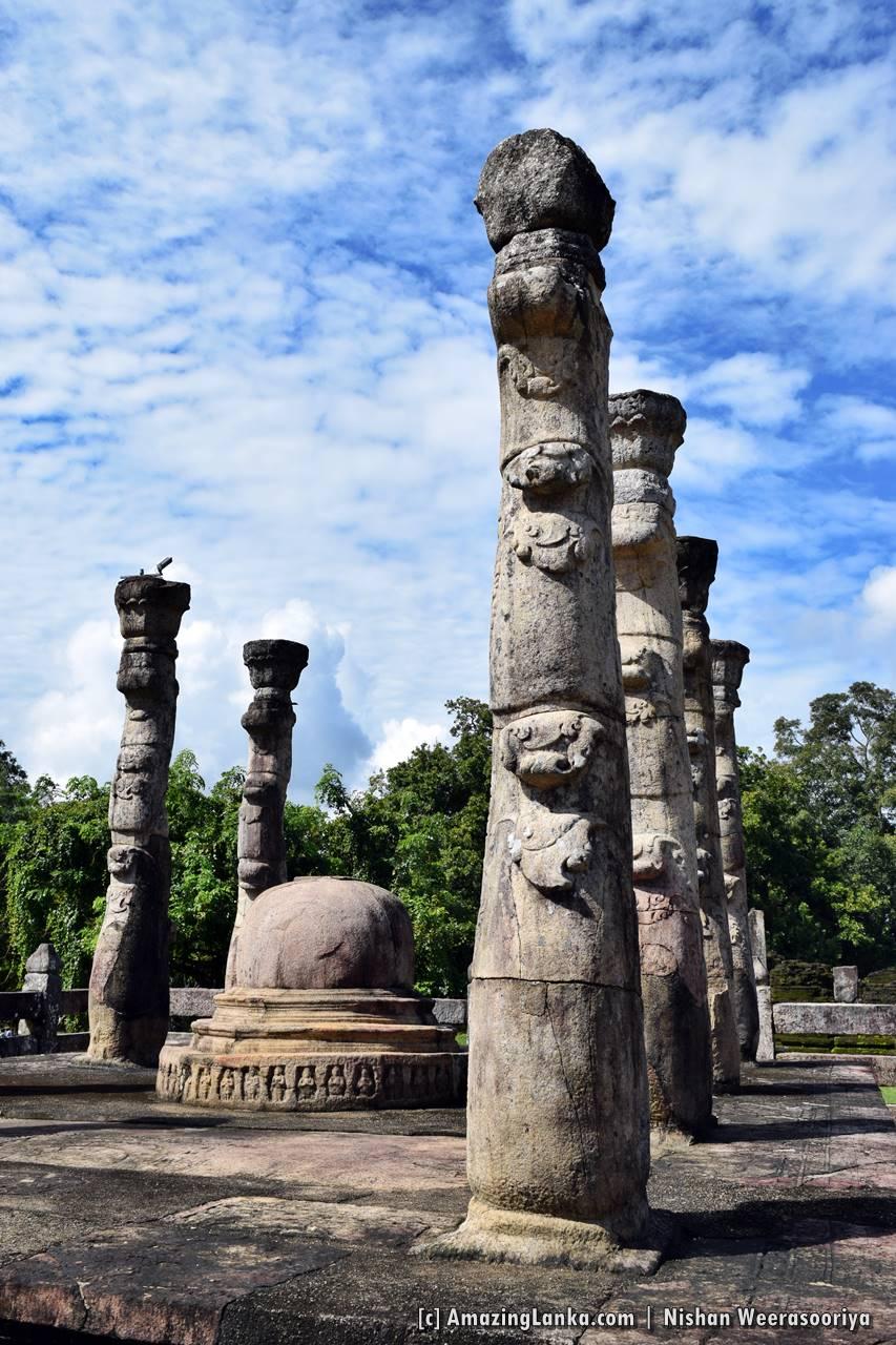 Rock carved pillars in shape of Lotus stems at the Nissanka Latha Mandapaya of the Polonnaruwa Ancient Kingdom
