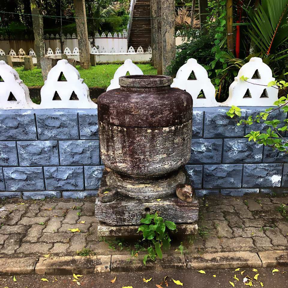 An ancient pan kalaya made of stone at Attanagalla Raja Maha Viharaya