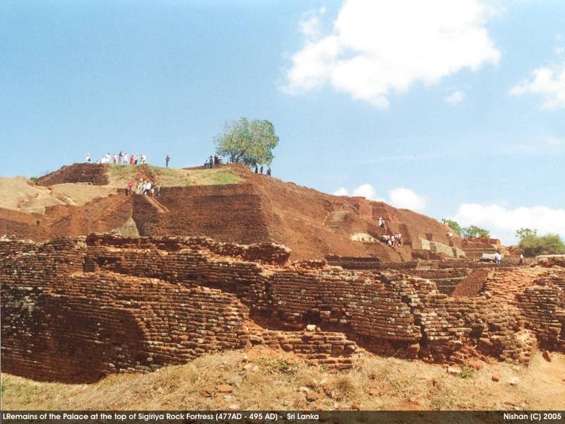 Remains of the palace complex at the top of Sigiriya Rock Fortress