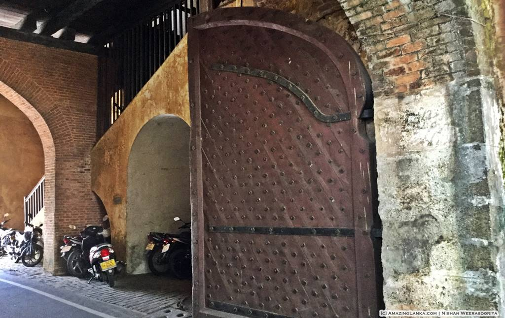 Massive gates of the Old entrance of the Galle Fort dated 1668