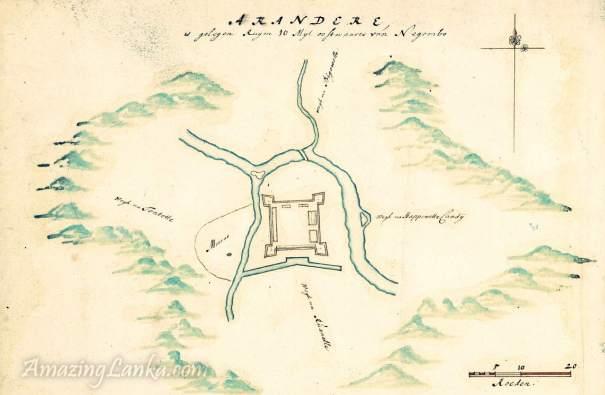 A 1695  map of Portuguese fort at Arandora from the Dutch National Archives