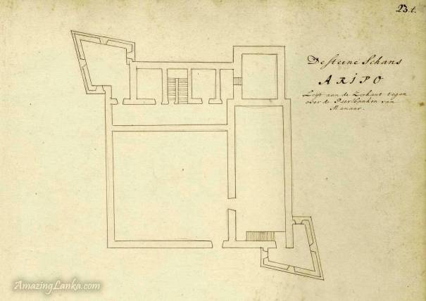 Dutch Fort of Arippu drawn in 1672 from the National Archives of Netherlands