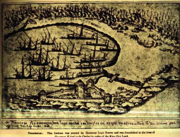 """A view of Colombo harbour in 1518 showing the fort of """"Our Lady of Victories"""" located on the Hook of Colombo"""