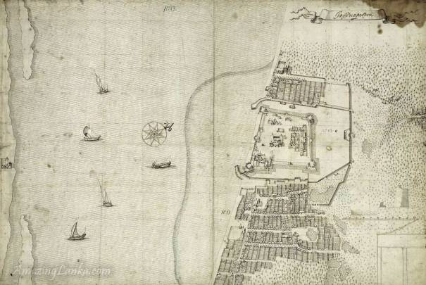 A plan of the Jaffna Fort and the surrounding streets, Sri Lanka drawn in 1665 - From the national archives of Netherlands