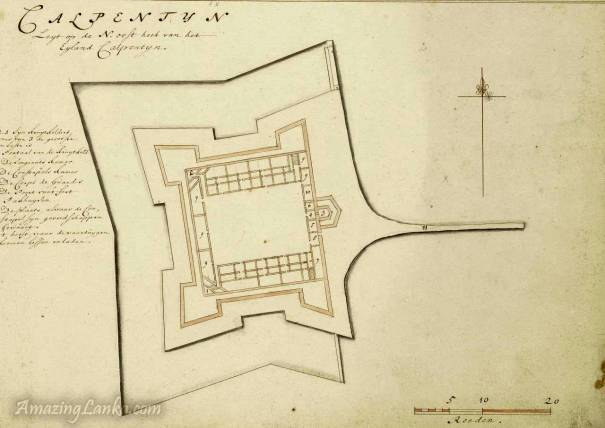 A plan of the Kalpitiya Fort, Sri Lanka drawn in 1672 - From the National Archives of Netherlands