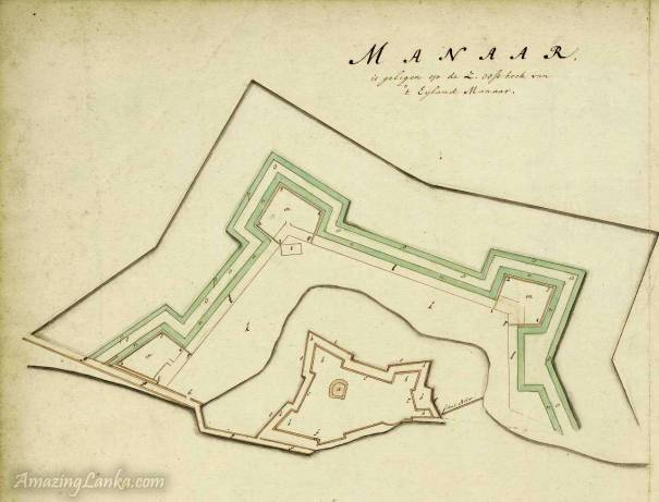Dutch Fort of Mannar drawn in 1672 from the national archives of Netherlands