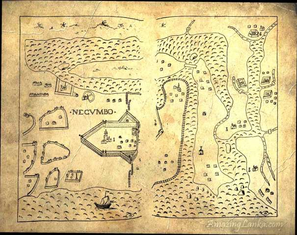 A map of the Negombo Fort area from the 1636 publication Description of CEYLON - in the Book of the Plans of all the Fortresses Cities and towns of the State of Oriental India by ANTONIO BOCARRO translated to English by Tikiri Bandara Herath Abeyasinghe