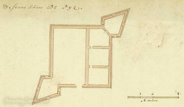 A plan of the Pas Pyl Fort in Jaffna, Sri Lanka drawn in 1693 - From the National Archives of Netherlands