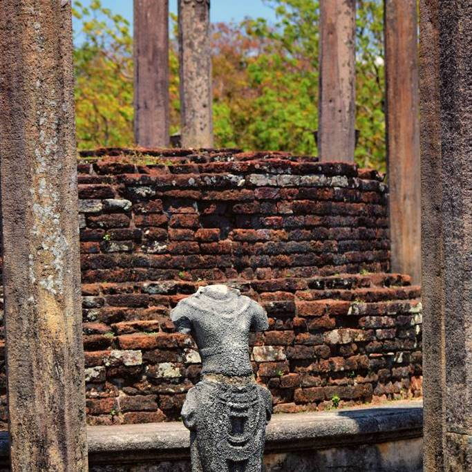 A statue of Boddhisattva in the Medirigirya Vatadage
